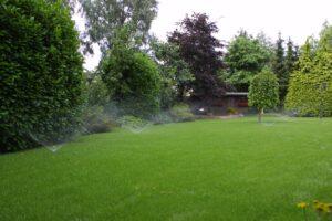 Schless Achtertuin-gazon-bomenpartij-sproeiers-tuinhuis -2-